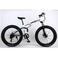 "L&LQ 26""Alloy Folding Mountain Bike 27 Speed Dual Suspension 4.0 inch Fat Tire Bicycle può Pedalare su Neve, Montagne, Strade, Spiagge, ECC,Goldwhite"