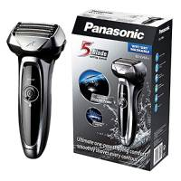 Panasonic ES-LV65-S803 Rasoio Elettrico da Barba Wet&Dry, Senza Fili, Ricaricabile, Testina Flex, 5 Lame a 30°, Argento/Nero