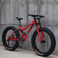 """Wind Greeting 26"""" Mountain Bike,21 velocità Fat Tire Adulto Mountain Bike,Cruiser Bicycle Beach Ride,Corpo in Acciaio al Carbonio, Freni a Doppio Disco a Sospensione Completa (Rosso)"""