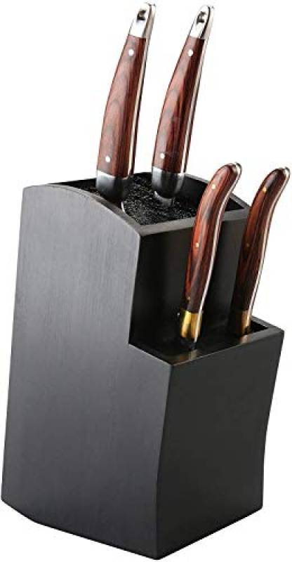 eKitch, ceppo universale per coltelli da cucina, in legno di bambù ecologico, design elegante, più livelli, Bambù, Magnetic Black, 20 x 10 x 10 xm