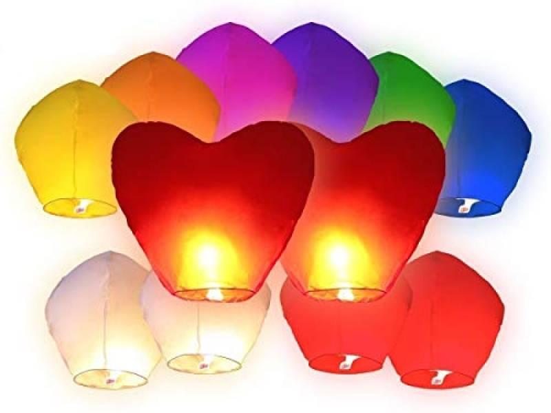 JRing Sky Lanterna Cinese, 20 PZ Lanterne cinesi volanti include 4PZ lanterne cuori rossi giganti per Natale, Capodanno, Festa dei desideri e matrimony