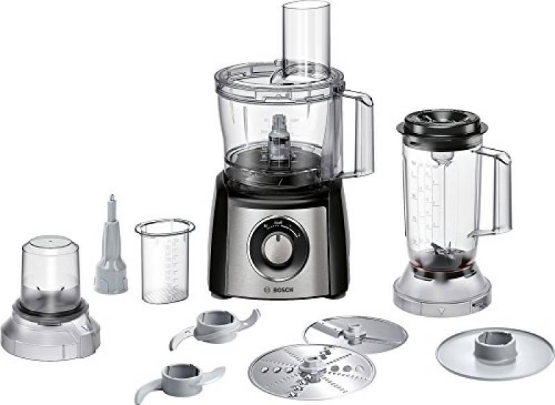 Bosch MCM3501M MultiTalent 3-Robot da Cucina Compatto, 800 W, Plastica, Acciaio Inossidabile, Nero/Argento