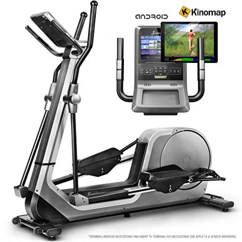 Sportstech Cyclette ellittica Luxus LCX800 Console Android, 24Kg volano, App Smartphone Comp. con Bluetooth- & Cinturino cardiofrequenzimetro, 12 programmi Allenamento HRC, Kinomap