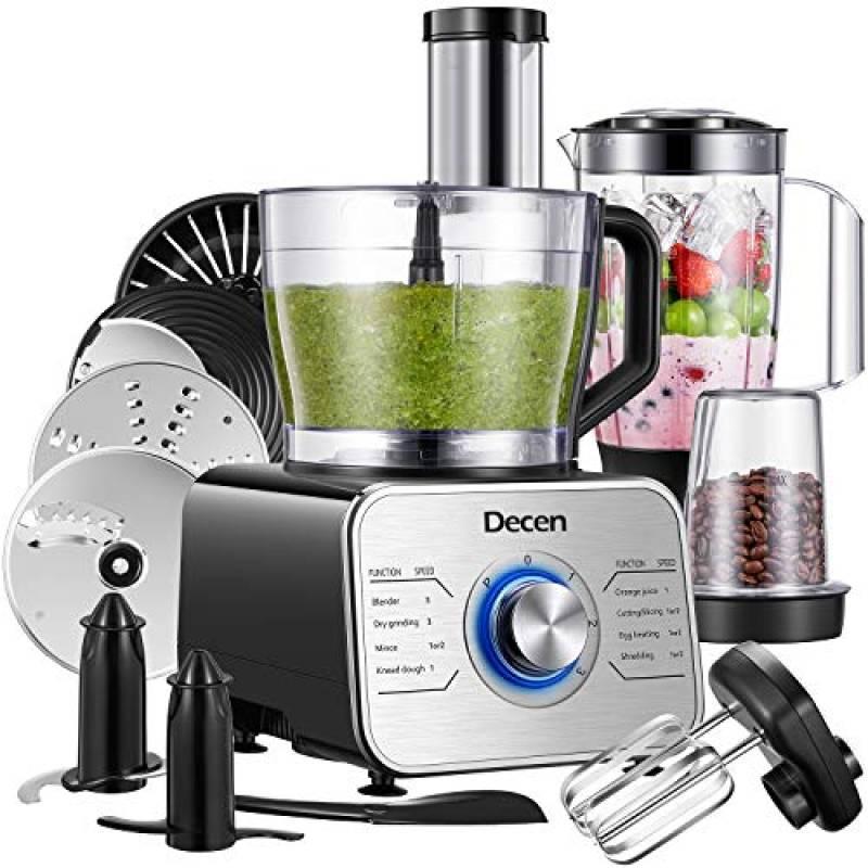 Robot da Cucina Multifunzione 1100W, Robot da Cucina Compatto con 3 Velocita e Funzione Impulso, 3.5L(con gancio per impastare, frullatore, spremiagrumi e macinacaffè), Argento