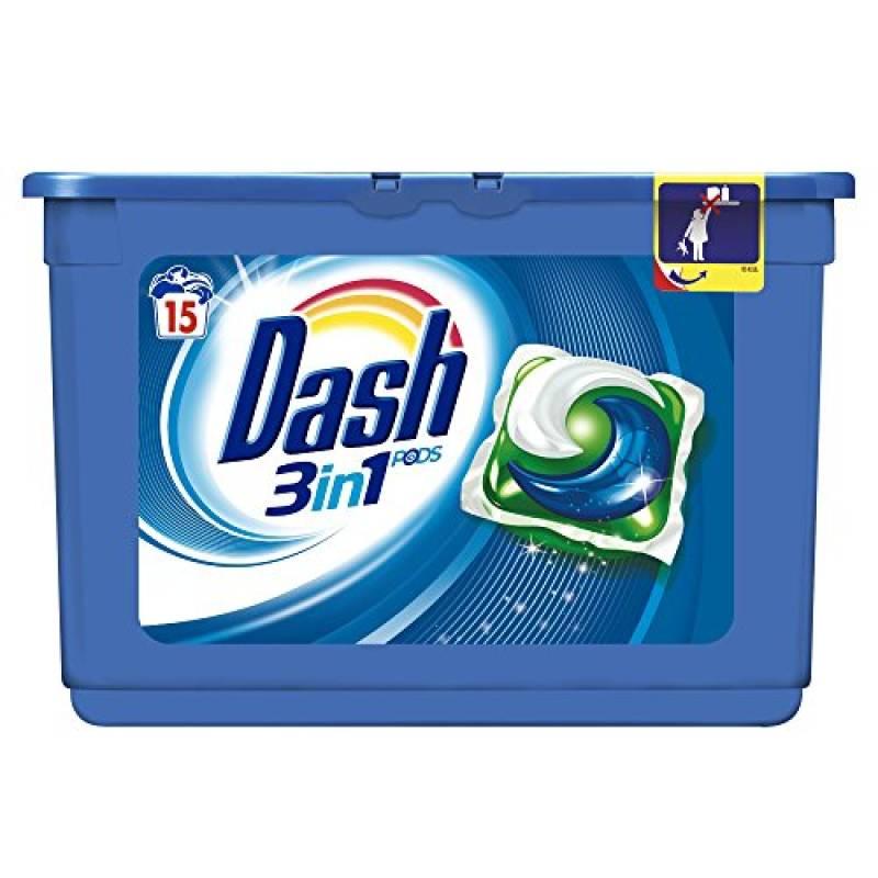 Dash PODS 3 in 1 Detersivo Lavatrice in Monodosi Regolare, 15 Lavaggi
