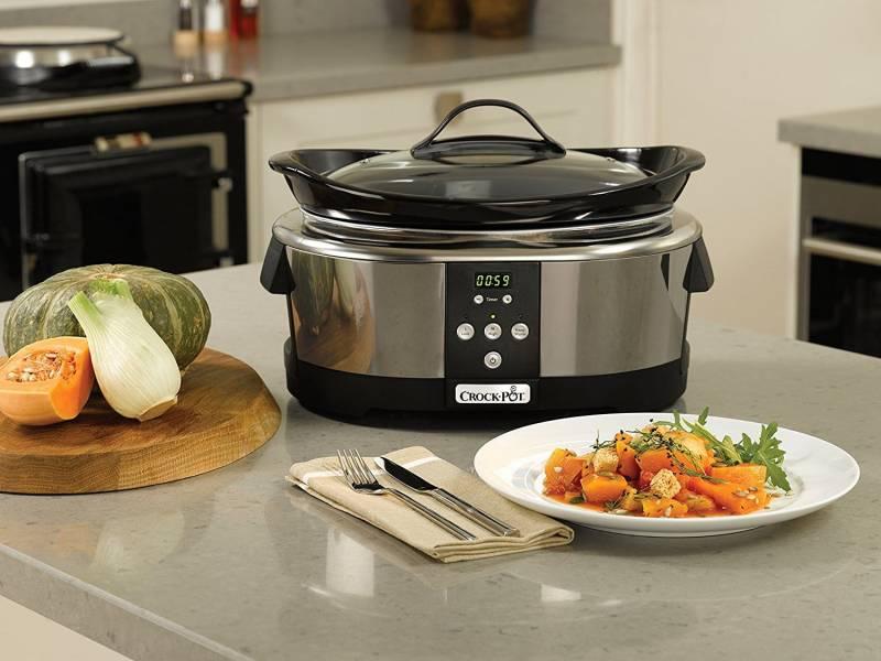 Crock-Pot Slow Cooker Pentola per Cottura Lenta, Capienza 5.7 Litri, Adatta fino a 8 Persone, 230 W, Digitale, Programmabile, Argento
