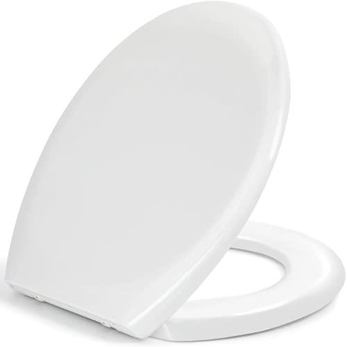 Sedile WC,Copriwater Universal,Coperchio Water Urea-Formaldeide Tavoletta WC con Chiusura Rallentata con Sgancio Rapido a un Pulsante,Facile da Montare con Materiale Antibatterico a Forma di O