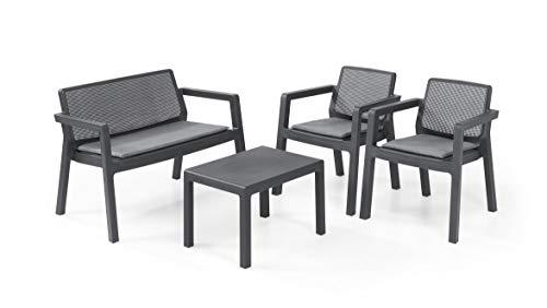 Keter Emily Lounge Set, Mobili da Giardino Superficie Liscia con Divano 2 Posti 2 Sedie e Tavolino, Grafite