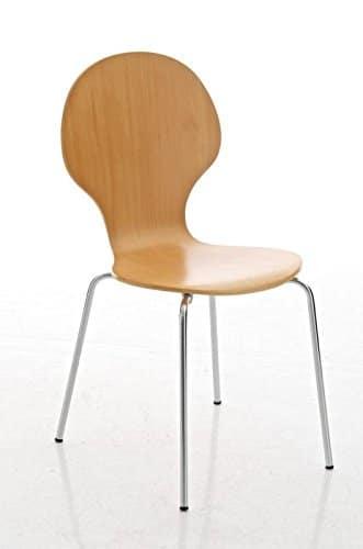 Sedia CP276 Design Moderno Metallo Legno Verniciato 45x43x86cm Legno Chiaro