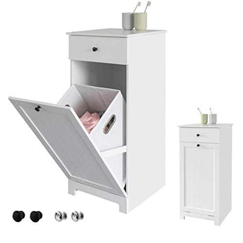 SoBuy Mobile porta biancheria per bagno con cassetto e cesto biancheria sporca L40*P38*A90cm (BZR21-W)