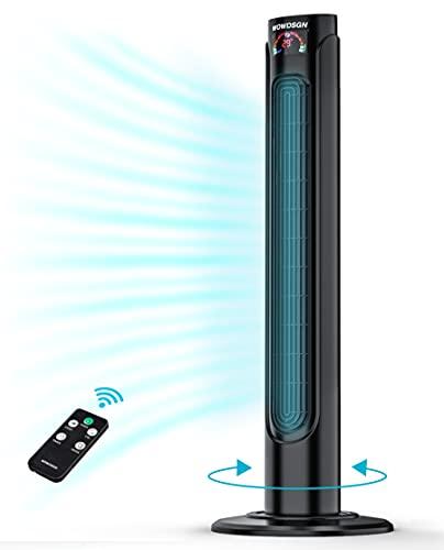 Ventilatore a Torre Silenzioso con Telecomando /Timer 15 Ore - WOWDSGN Ventilatore Colonna Oscillante 90° - Tower Fan Digitale 36 Pollici per Casa / Ufficio - 3 Velocità e 3 Modalità - 55W Nero