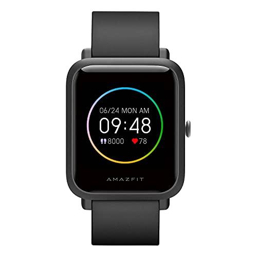 Amazfit Bip S Lite Smartwatch Orologio Fitness Tracker, Display Always-on, 150 Quadranti, Durata Batteria 30 Giorni, Impermeabil 5 ATM, Montoraggio della Frequenza Cardiaca, Notifiche Messaggi, Nero