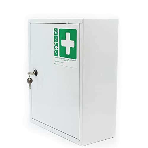 Armadietto medicinali cassetta farmaci con 2 ripiani bagno corridoio 31 x 11 x 36 cm colore: bianco