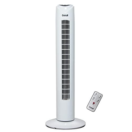 Gotoll Ventilatore a Torre con Telecomando,81,5CM 50W Ventilatore a Colonna con Oscillazione de a 70° ,3 Modalità ,3 Velocità,Timer 7.5 Ore