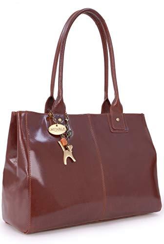 Catwalk Collection Handbags - Vera Pelle - Grande Borsa a Spalla/Borse a Mano/Tote - Con Ciondolo a Forma di Gatto - Kensington - MARRONE