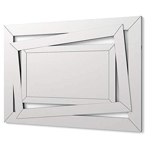 DekoArte E034 - Specchi Decorativi Moderni Di Pareti | Specchi Decorazione Per Il Tuo Soggiorno, Stanza da letto, Lobby, Ingresso | Specchi Sofisticati Grandi Rettangolare Colore Argento | 100 x 70cm