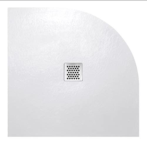 Piatto Doccia 80x80cm Semicircolare Altezza 3cm Resina Acrilica Effetto Pietra Griglia In Acciao Inox Colore Bianco Piletta di Scarico Inclusa Mod. Agathos