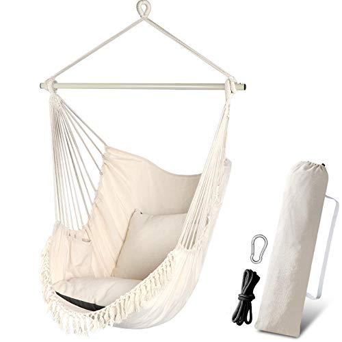 Chihee Sedia pensile per amaca 2 cuscini inclusi, barra di sollevamento durevole Tasca laterale sospesa per altalena Set grande sedia in macramè Tessuto in cotone di qualità per un comfort morbido
