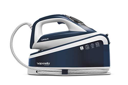 Polti Vaporella Express VE30.10, generatore di vapore ad alta prestazione fino 8bar pompa, tecnologia ONE TEMPERATURE per tutti i tessuti e digital setting, 240g/min, riscaldamento 1 min, Bianco/Blu