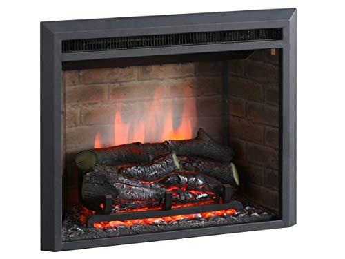 """RICHEN Caminetto elettrico Calida (23"""") - Caminetto ad incasso con riscaldamento, effetto fiamma 3D, funzione scoppiettante e telecomando - nero"""