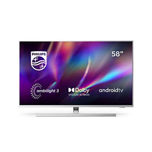 """Philips TV Ambilight 58PUS8505/12 58"""" 4K UHD TV LED (Processore P5 Perfect Picture, HDR10+, Dolby Vision∙Atmos, Android TV, Works with Alexa) Argento - Modello 2020/2021"""