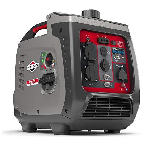 Briggs & Stratton P2400 - Generatore di Corrente Silenziato, con Tecnologia a Inverter Portatile a Benzina, 2400W potenza all'avviamento, 1800W potenza continua