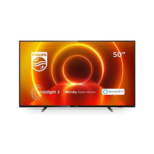 """Philips TV Ambilight 50PUS7805/12 50"""" 4K UHD TV LED Processore P5 Picture, HDR10+, Dolby Vision∙Atmos, Smart TV, Alexa Integrata, Modello 2020/2021, Nero"""