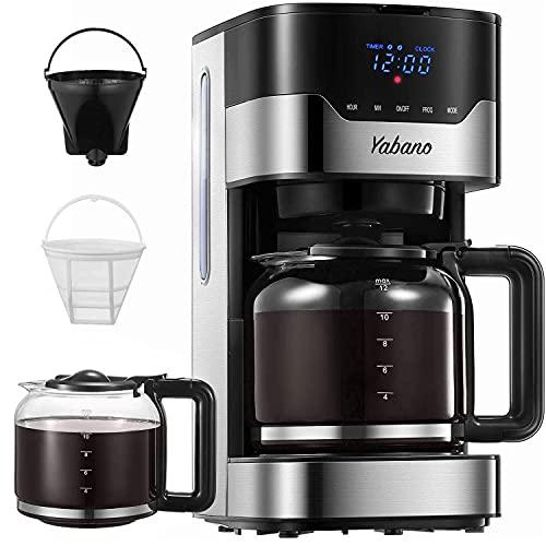 Macchina Caffe, Yabano Macchina Caffe Americano, Programmabile 1.5L Macchina da Caffè Americano con Timer, LED Pulsanti Touch, Filtro Permanente per Tè e Caffe, 900W, Acciaio Inox