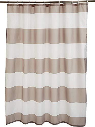 Amazon Basics - Tenda da doccia in tessuto con motivo stampato a righe, 180 x 200 cm, colore: grigio