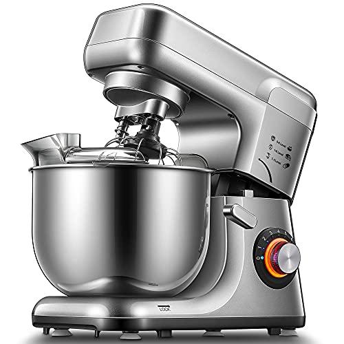 Impastatrice Planetaria, Doppio gancio Robot da Cucina Basso Rumore 8 Velocità 5,5 Litri Mixer Cucina con Frusta, Gancio per Impastare, Frusta per Dolci, Coperchio Paraspruzzi (Argento)