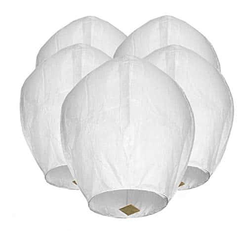 Maylai 5 confezioni Lanterne cinesi bianche fatte a mano Lanterne di carta volanti Lanterne di auguri per compleanno Festa per matrimonio Anniversario 100% biodegradabile