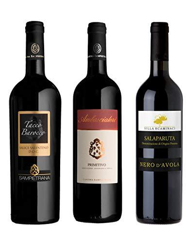 Negroamaro + Nero d'Avola + Primitivo del Salento | i vini del Sud | vino rosso | 3 x 75cl