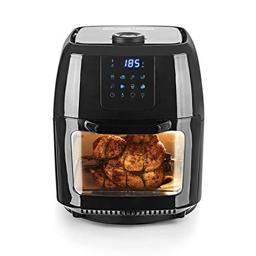 GOURMETmaxx Digital XXL Hot Air Deep Fryer 9 litri | Frittura senza grassi, friggitrice, forno e griglia rotante in uno | Incluso spiedo rotante per pollo e shish kebab [1800 watts/nero]