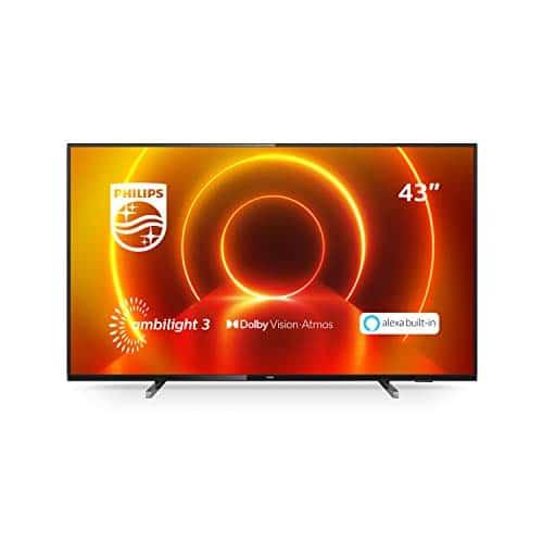 """Philips TV Ambilight 43PUS7805/12 43"""" 4K UHD TV LED Processore P5 Picture, HDR10+, Dolby Vision∙Atmos, Smart TV, Alexa Integrata, Modello 2020/2021, Nero"""