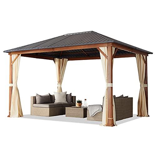 Gazebo da giardino 3x4 m look legno, tetto Hardtop in acciaio, 4 teli laterali color crema
