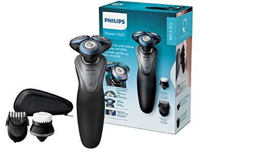 Philips S7970/19 Rasoio Elettrico Uomo S7000, Wet&Dry, Testina ContourDetect 8 Direzioni, App Groomtribe, Lame GentlePrecision, Sistema Skin Glide, Sensore BeardAdapt, Regolabarba Uomo