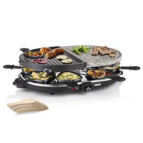 Princess Raclette Pietra e Griglia 162710, 1200 watt, Combinazione di piastra, griglia e raclette, 8 persone, Pietra ollare
