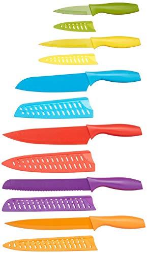 Amazon Basics - Set di coltelli colorati, 12 pezzi
