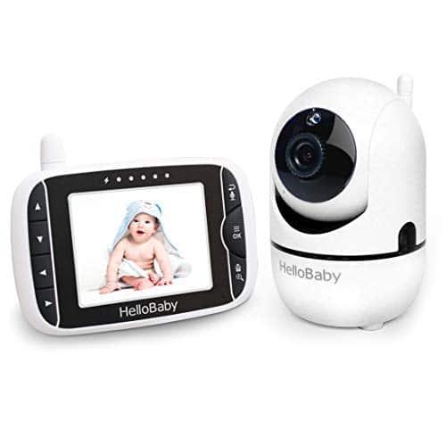 HelloBaby Baby Monitor con Telecamera Remota Pan-Tilt-Zoom Schermo LCD da 3,2 Pollici Aggiornato al 2021, Visione Notturna a Infrarossi, Display Della Temperatura, con Modalità VOX (3,2 Pollici)