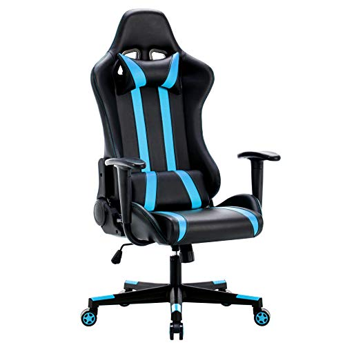 IntimaTe WM Heart Sedia Gaming, Sedia Girevole ergonomica 135 ° Reclinabile Sedia da Gioco di PU Poltrona per Studio Sedia coi Cuscini poggiatesta e Cuscino Lombare Blu