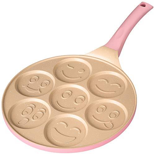 Erreke – Padella Pancake, Adatta per Tutti i Tipi di Cucina, Padelle Antiaderente, Design Divertente per Bambini, 26 cm, Padelle Induzione Colore Rosa.