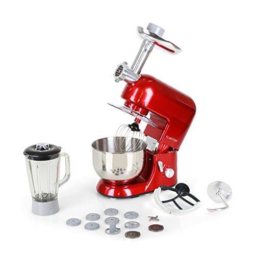 Klarstein Lucia Rossa - Robot da Cucina, Impastatrice, Planetaria con Tritacarne, 1300 W, 5 L, Mixer con Sistema Planetario, Ganci per Pasta, Shaker da 1,5 L, Velocità Regolabile, Rosso