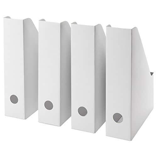 IKEA, FLUNS, set di quattro portariviste pieghevoli in cartone, contenitori a scatola