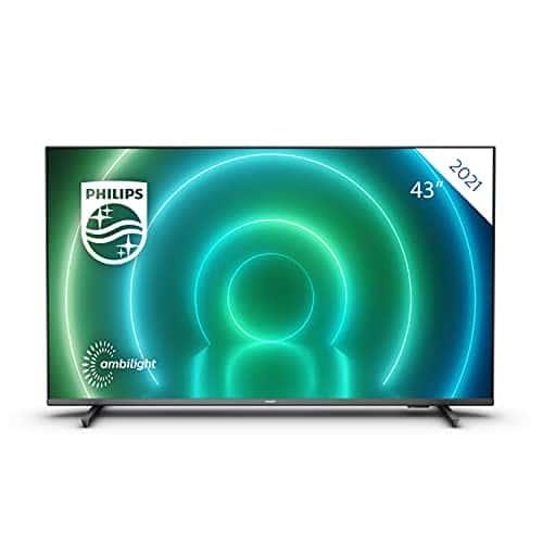 PHILIPS 43PUS7906/12 43-Pollici LED android TV, 4K Smart TV con ambilight, vibrante immagine hdr, visione cinematografica dolby e suono atmos, compatibile con google assistance e alexa, nero