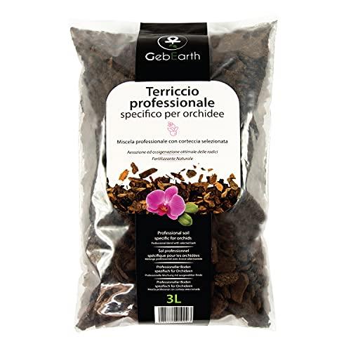 GebEarth - Terriccio per Orchidee, Substrato per Orchidee da 3 litri【 Terriccio Professionale per tutte le Orchidee 】