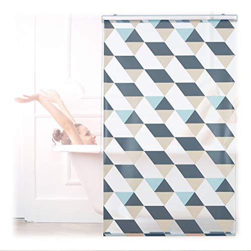 Relaxdays Tenda da Doccia, 100x240, Design Triangoli Moderno, Rullo Flessibile, Vasca da Bagno & Finestra, Multicolore
