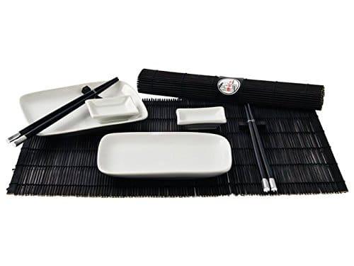 Japan Style, set di stoviglie da tavola per sushi, per 2persone, 1 set, colore: nero e bianco