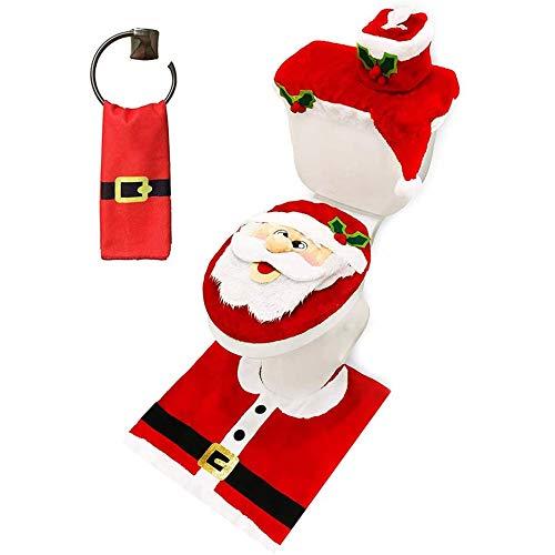 MUSJOS Copriwater E Copri Serbatoio di Natale, Set WC Natale Copriwater Copri Serbatoio Tappettino Tema Babbo Natale Pupazzo, Decorazioni Natalizie Bagno