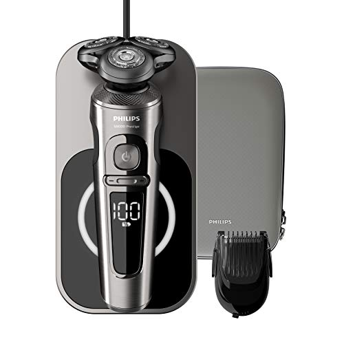Philips SP9860/16 - Rasoio elettrico a umido e a secco, serie 9000 Prestige, con lame di precisione Nano-Tech, caricatore Qi per ricarica senza fili, batteria, 2018