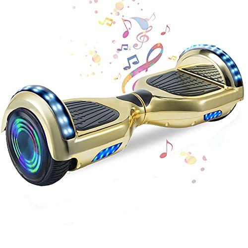 HappyBoard 6,5 Pollici Hoverboard Monopattini Elettrici Autobilanciati Scooter Elettrico Autobilanciante, Ruote da Skateboard con Luce a LED, Motore 700 W Bluetooth per Bambini e Adulti Oro